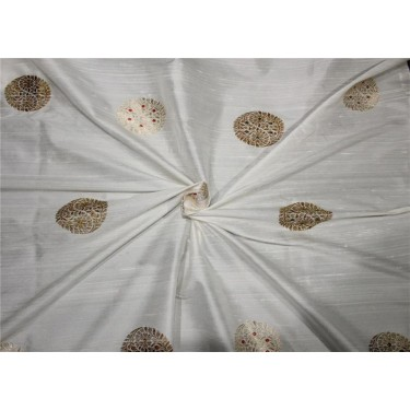 100% pure silk fabric with metallic jacquard ivory color 44''wide BRO656[4]