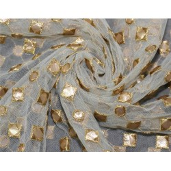 Net fabric embroidered sold by the yard 44'' bridal wear party wear costumes curtain