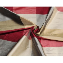 Silk Dupioni Fabric Plaids Shades of Maroon/Grey/Gold  color 54'' wide DUP#C101[4]