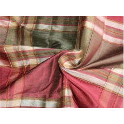 Silk Dupioni Fabric Ribbed Plaids red burgundy x green color DUP#C103[1]