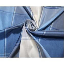 Silk Dupioni Fabric Plaids Shades of Blue and ivory color 54'' wide DUP#C102[1]