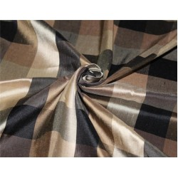 Silk Dupioni Fabric Plaids Shades of Black and gold color 54'' wide DUP#C102[3]