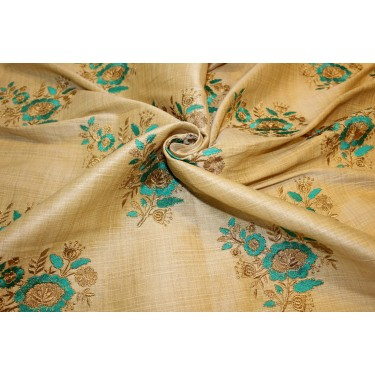 """3.60 yards POLYESTER  DUPIONI  FABRIC 44"""" GOLD with embroidered green flowers and metallic gold leaves"""
