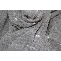 Full Sequence dusty grey Net Fabric WITH  silver   color SEQUENCE  58'' Wide FF2[7]