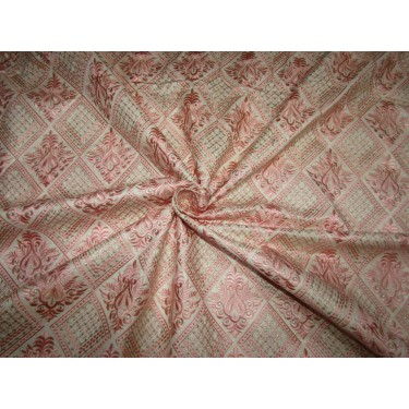 """Silk Brocade Fabric classy baby pink embroidered with a hint of gold to further dress it up   44"""" BRO703[4] by the yard"""