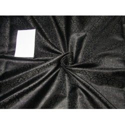 "Silk Brocade Fabric jet black  44"" BRO703[2] by the yard"