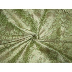"Silk Brocade Fabric floral green x metallic gold 44"" BRO704[1] by the yard"
