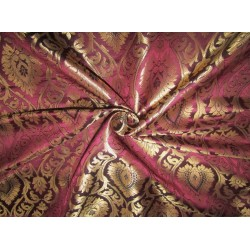 "Silk Brocade Fabric wine x metallic gold   44""wide BRO705[1] by the yard"