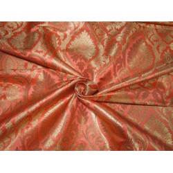 "Silk Brocade Fabric coral peach  x metallic gold   44""wide BRO705[4] by the yard"