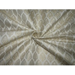 "Silk Brocade Fabric ivory  x metallic gold motif 44""wide BRO706[3] by the yard"