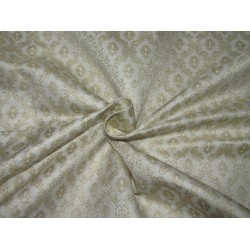 "Silk Brocade Fabric ivory  x metallic gold 44""wide BRO706[4] by the yard"