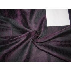"Silk Brocade Fabric aubergine x black   44"" BRO707B[3] by the yard"