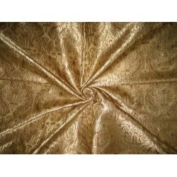 "SILK BROCADE FABRIC Gold & Brown color 44"" Vestment design BRO169[3]"