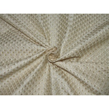 """POLYESTER  RAW SILK   FABRIC 44"""" CREAM embroidered with gold sequence FF51"""