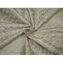 """POLYESTER  RAW SILK   FABRIC 44"""" CREAM embroidered with gold sequence FF51[A]"""