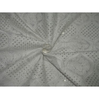 """POLYESTER  RAW SILK   FABRIC 44"""" CREAM embroidered with gold sequence FF51 [C]"""