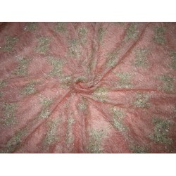 "Polyester Fancy Fabric fur Pink with Gold shimmer  lycra 58""  FF52 by the yard"