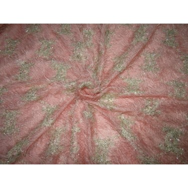 """Polyester Fancy Fabric fur Pink with Gold shimmer  lycra 58""""  FF52 by the yard"""