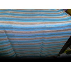 """Linen stripe white/blue  with gold stripes 56""""wide-# B2# 91[1]"""