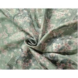 Silk dupion embroidery digital printed fabric iridescent green x pink 54inches wide DUPE57[3]