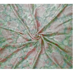 Silk dupion embroidery digital printed fabric iridescent pink x green 54inches wide DUPE57[1]