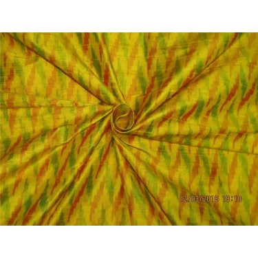 100% pure silk dupioni ikat fabric yellow x multi color 44'' inches by the yard