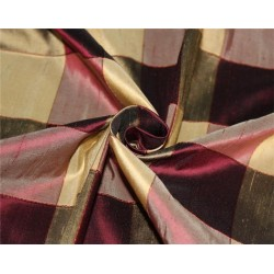 Silk Dupioni Fabric Ribbed  Plaids Shades of wine and gold color 54'' wide DUP#C102[2]