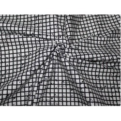 """100% cotton lycra twill 60mm 58"""" wide black and white plaids dots"""