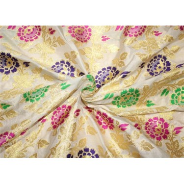 100% silk Brocade fabric multi color floral with metallic gold on white BRO656[3]