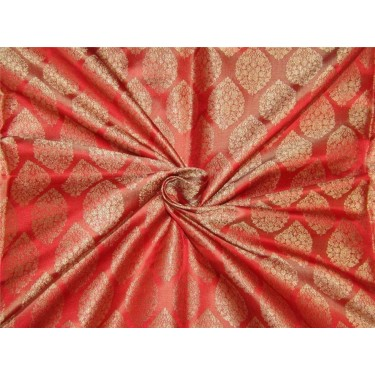 "Brocade fabric Red x gold color 44""wide Bro641[1]"