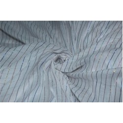 White cotton fabric with multi color stripe lurex weave 44''