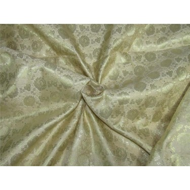 "Brocade fabric cream x metallic gold color 44"" Bro637[1]"