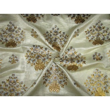 Brocade fabric cream/metallic gold with blue embroidery color 44''wide BRO647[4]