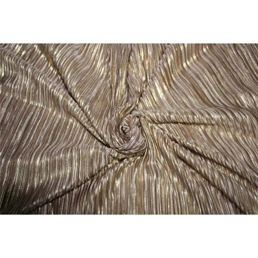 Pleated lurex Fabric brown color 58'' Wide FF1[1]