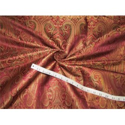 Brocade fabric Aubergine x metallic gold color 44''wide BRO647[2]