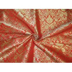 Heavy Brocade fabric Red x metallic gold color 36''wide BRO646[3]