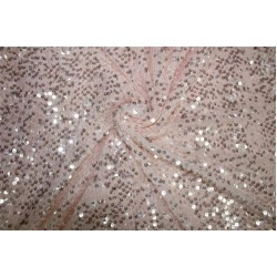 Beautiful Net Sequins Fabric By Yard Cute light pink color 58'' Wide FF2[3]