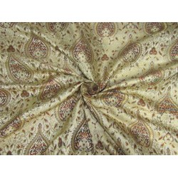 Heavy Silk Brocade Fabric cream /multi x color Metallic Gold 44'' bro632[2]