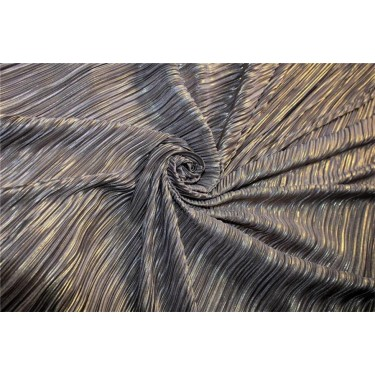 Pleated lurex Fabric light brown x silver color 58'' Wide FF1[4]