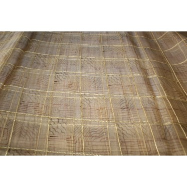 """100% silk organza plaids gold with abstract design fabric 44"""""""