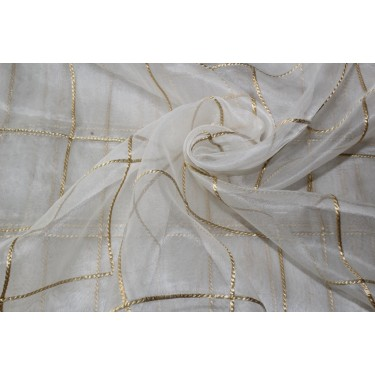 """ivory silk organza fabric 44"""" with gold rope plaids~Semi Sheer"""