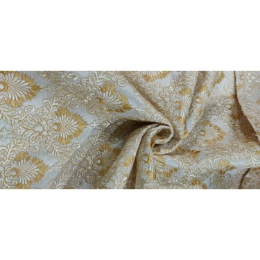"""heavily embroidered 44""""~ivory and gold  FF50[1]"""