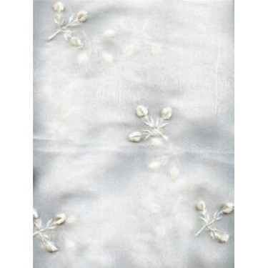 """White silk chiffon fabric 44""""-embroidered with white floral design"""