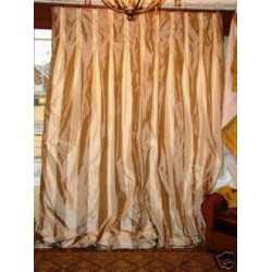 2 DOUBLE wide Striped silk Drapery Panels INTERLINED