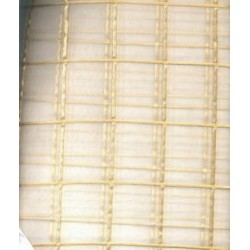 "ivory silk organza fabric 44"" ~gold plaids"