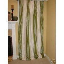 4 Kiwi Green Ivory taffeta Drape Panels INTERLINED silk