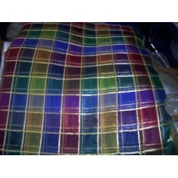 Designer Silk organza multi colour plaids  54