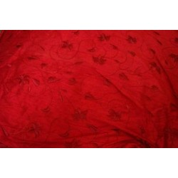"""red dupioni w/ red leaf embroidery 44"""""""