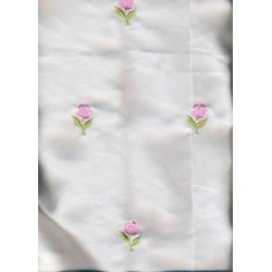 "100 % Silk satin fabric{ivory} 44""~Rose embroidery"