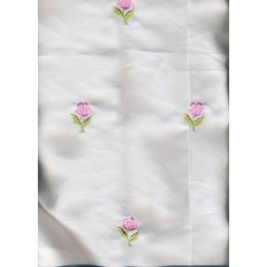 """100 % Silk satin fabric{ivory} 44""""~Rose embroidery"""